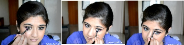 Bronze eye shadow with purple & blue 09