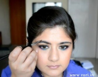 Bronze eye shadow with purple & blue 10