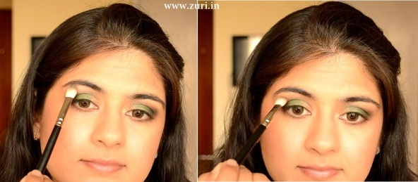 How to apply makeup - Green smokey eyes 04