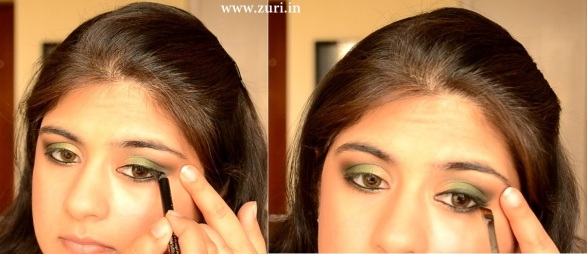 How to apply makeup - Green smokey eyes 07