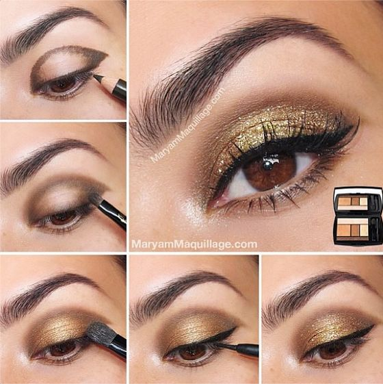 1bcec30149d Lastly, highlight the tear duct with some shimmery gold. how to do makeup  at home 03