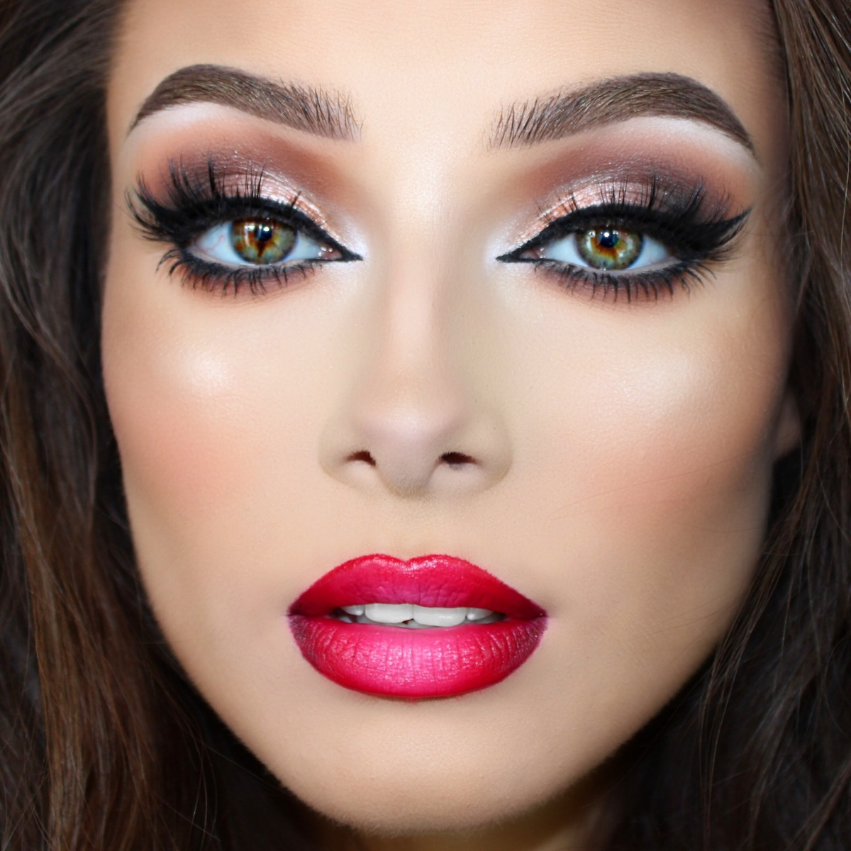 Beautiful Woman Arabic Makeup Red Lips Stock Photo ... |Beautiful Makeup Lips