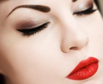 red lipstick and eye makeup 04